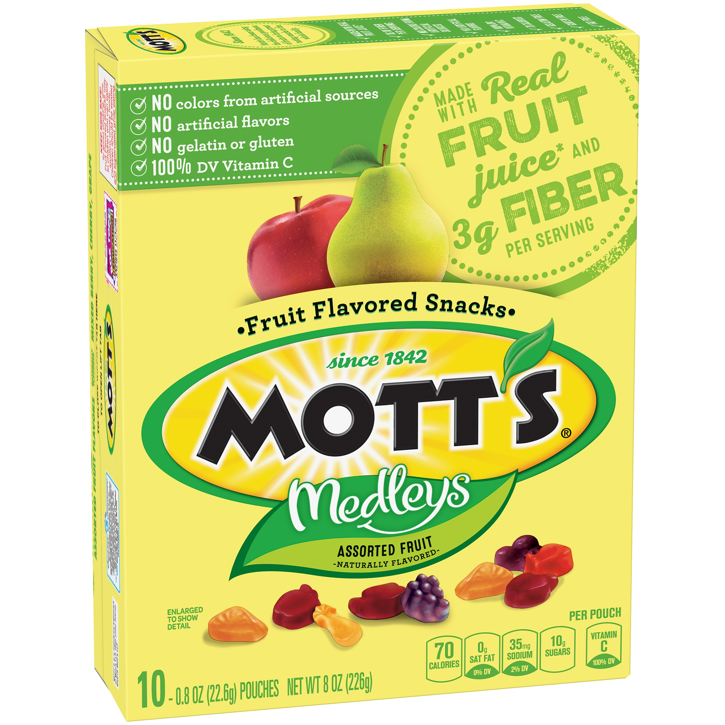 Mott's Medleys Fruit Snacks, Assorted Fruit, 10 Ct, 0.8 Oz