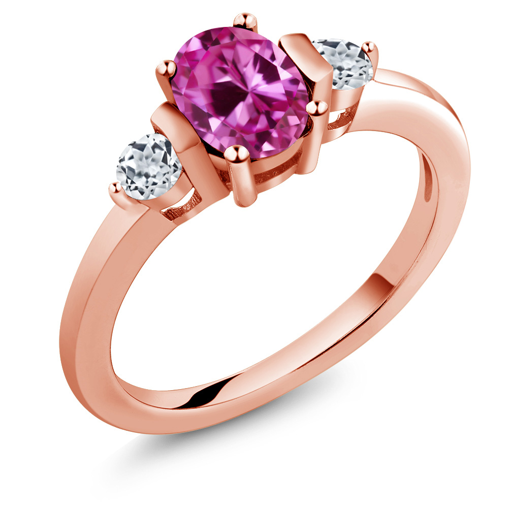 1.18 Ct Oval Pink Created Sapphire White Topaz 18K Rose Gold Ring by