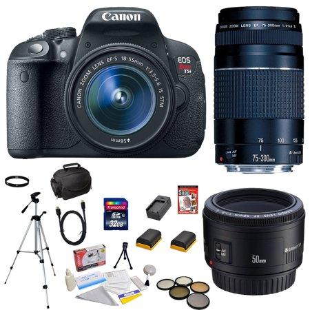 Canon EOS Rebel T5i 18 MP CMOS Digital SLR Camera w/EF-S 18-55mm f/3.5-5.6 IS STM Lens + EF 75-300mm f/4-5.6 III Telephoto Zoom Lens + Canon EF 50mm f/1.8 II SLR Lens, 12 Piece Deluxe Accessory Bundle