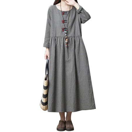 Women's Long Sleeves Vintage Linen Cotton Plaid Dress for Flapper - Long Sleeve Flapper Dress