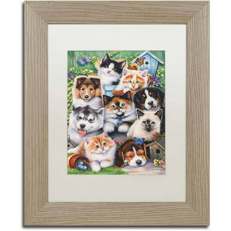 Trademark Fine Art 'Kittens & Puppies In The Garden' Canvas Art by Jenny Newland, White Matte, Birch Frame