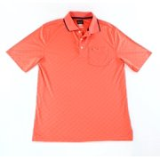 Tasso Elba NEW Red Mens Small S Diamond Embossed Play Dry Golf Polo Shirt