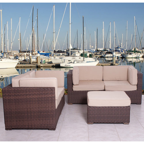 Nice Deluxe 5-Piece Wicker Patio Sectional Set with SUNBRELLA Antique Beige Cushions