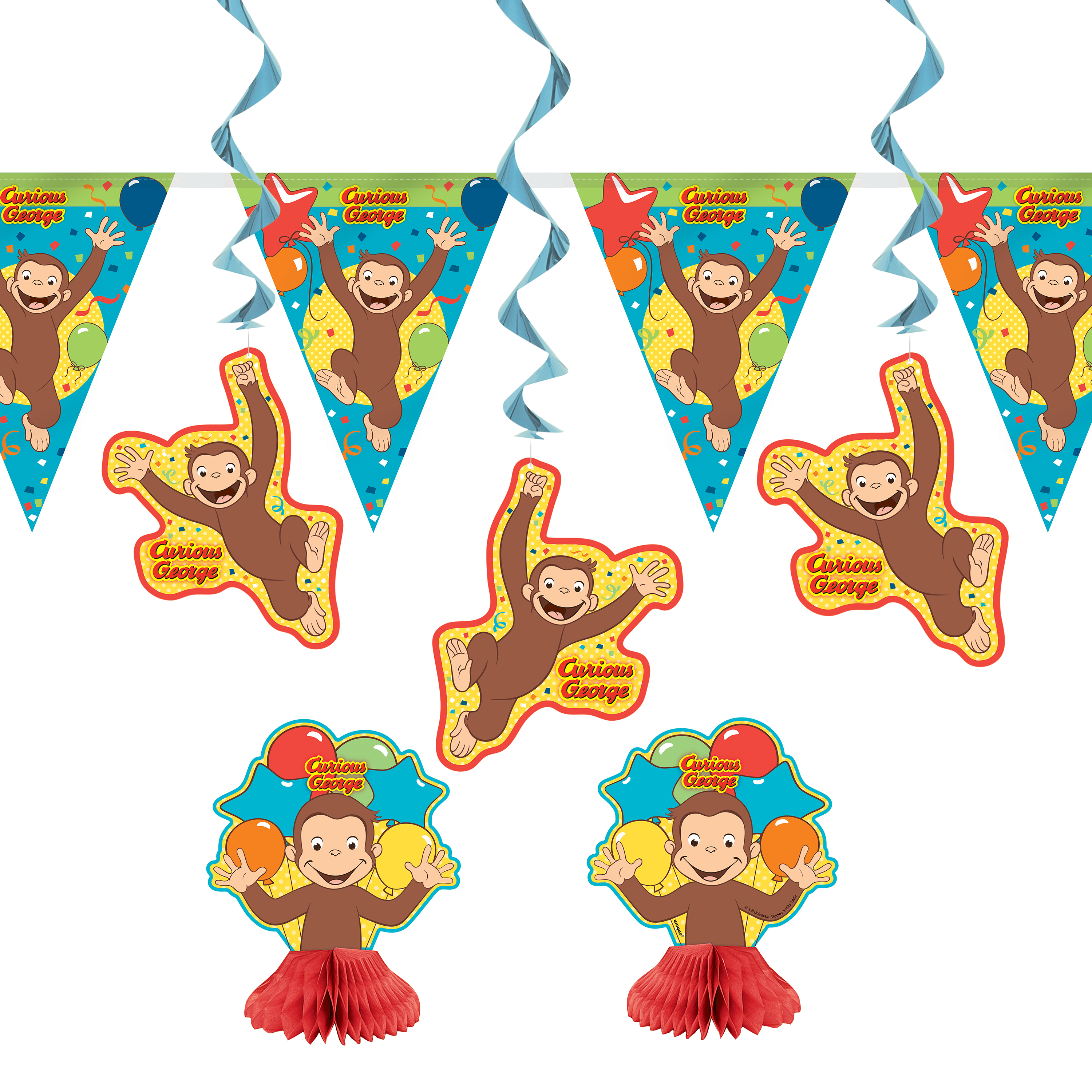 Curious George Party Decoration Kit, 7pc