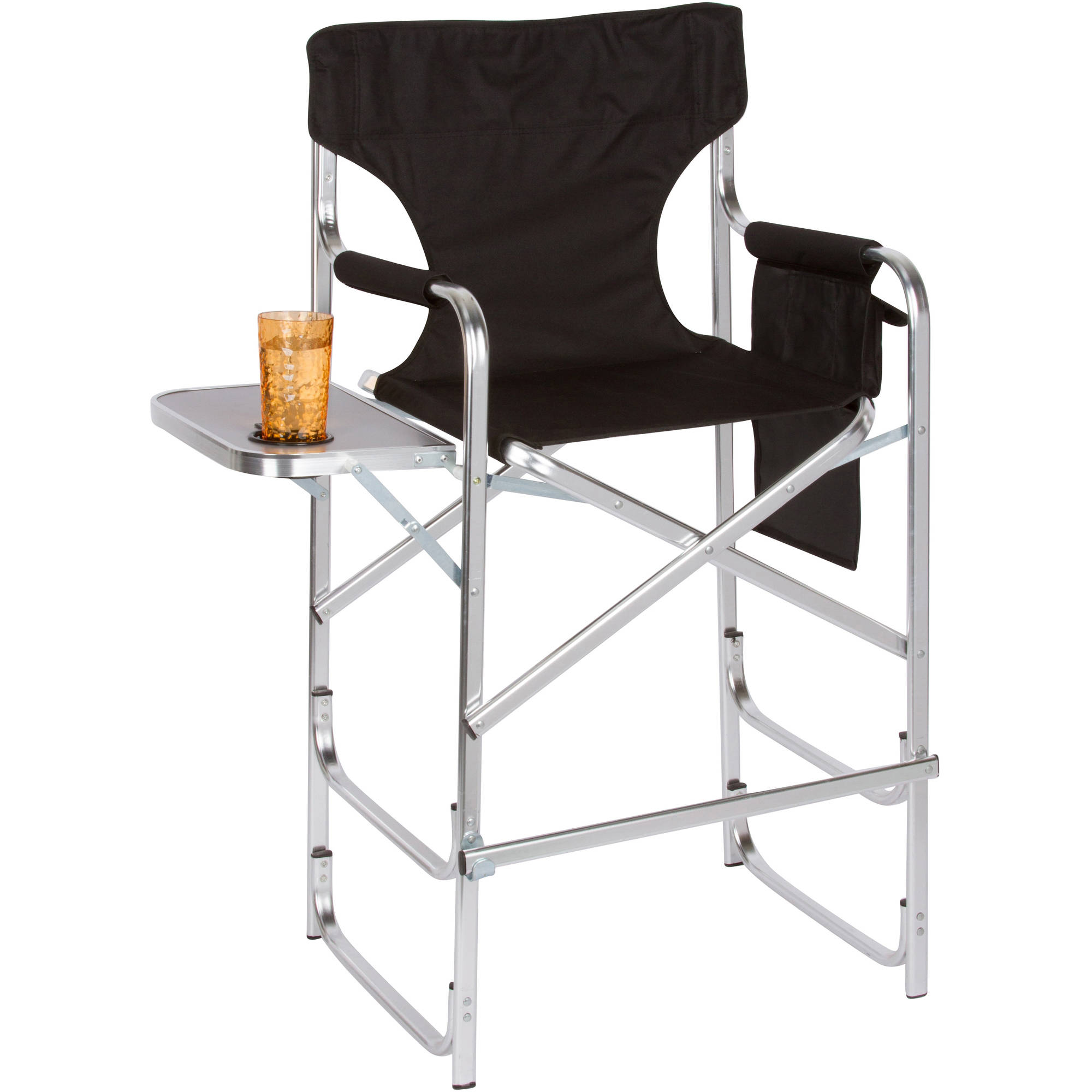 Aluminum Frame Tall Director's Chair With Side Table by Trademark Innovations, Black