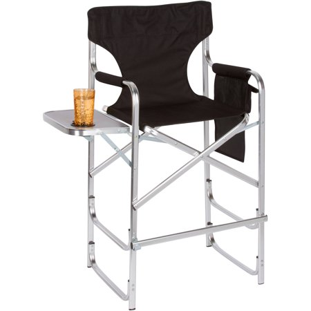 aluminum frame tall director 39 s chair with side table by trademark innovations black. Black Bedroom Furniture Sets. Home Design Ideas