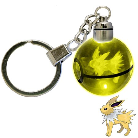 LED Keychain 3D Crystal Ball Laser Engraving Party Favor Christmas Children's Gift (Jolteon)