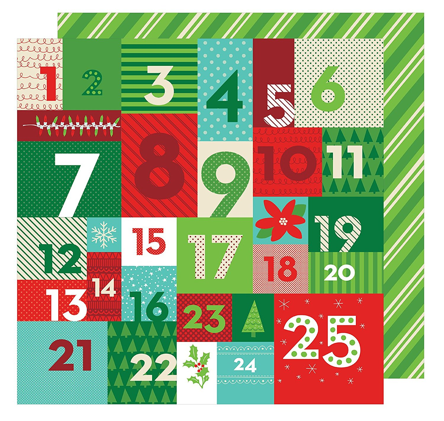 American Crafts All Wrapped Up Collection Christmas 12 X 12 Double Sided Paper Advent