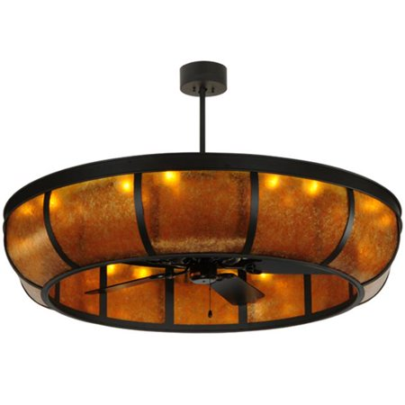 Meyda 134953 56 In  Prime Dome With Uplights Chandel Air  44  Oil Rubbed Bronze   Amber Mica