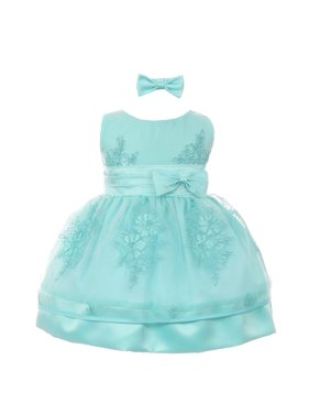 913d5237d496 Product Image Baby Girls Cyan Blue Floral Embroidered Bow Headband Flower Girl  Dress