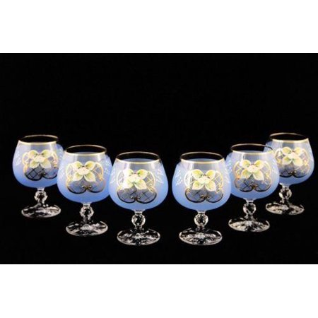 Bohemian Crystal Colored Glasses, 6-pc Vintage BLUE Brandy Cognac Snifters