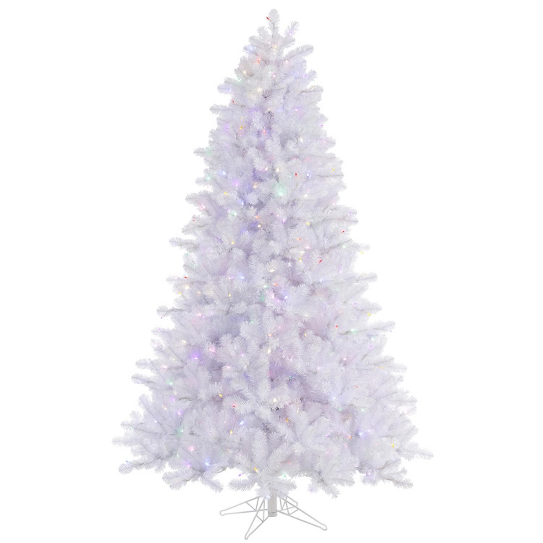 4.5' Pre-Lit Crystal White Pine Artificial Christmas Tree-Multi-Color LED Lights