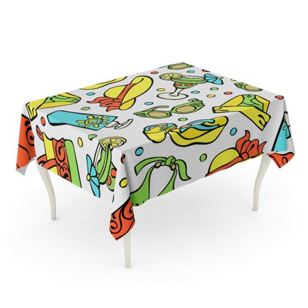 SIDONKU Beach Time Swimsuit Straw Hat Flip Flops Cocktail Towel Tablecloth Table Desk Cover Home Party Decor 60x84 inch](Straw Table)