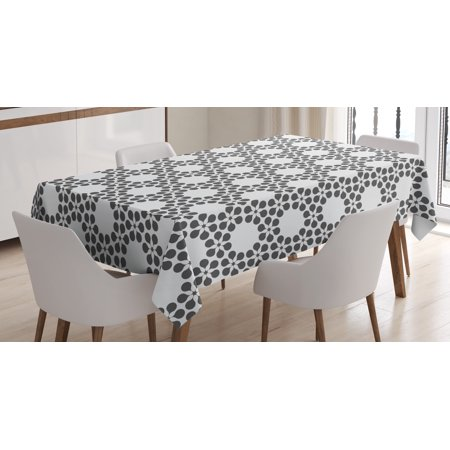 Grey and White Tablecloth, Abstract Pattern with Flowers Forming a Contemporary Grid, Rectangular Table Cover for Dining Room Kitchen, 60 X 84 Inches, Charcoal Grey with White, by Ambesonne ()