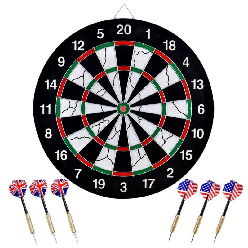 Professional 18 inch Double-sided Dart Board with 6 Brass Darts In Outdoor Games by