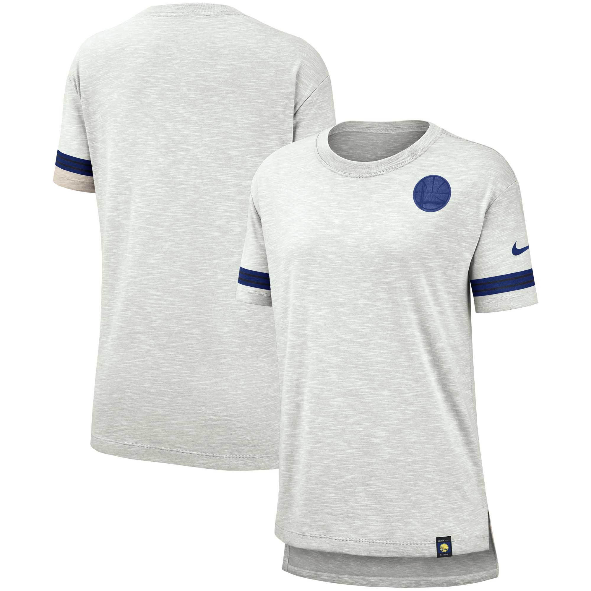 Golden State Warriors Nike Women's Color Rush Sleeve Stripe Slub T-Shirt - Heathered Gray