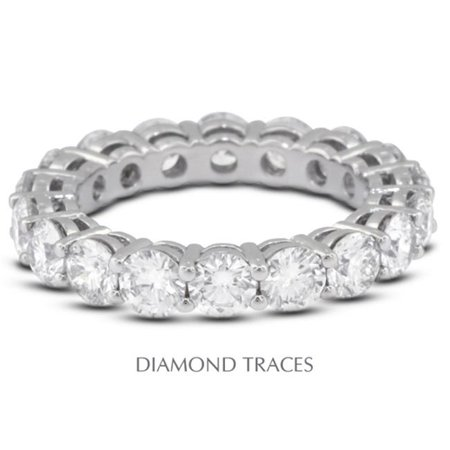 Diamond Traces UD-EWB446-8233 Platinum 950 4-Prong Setting, 1.36 Carat Total Natural Diamonds, Basket Eternity Ring