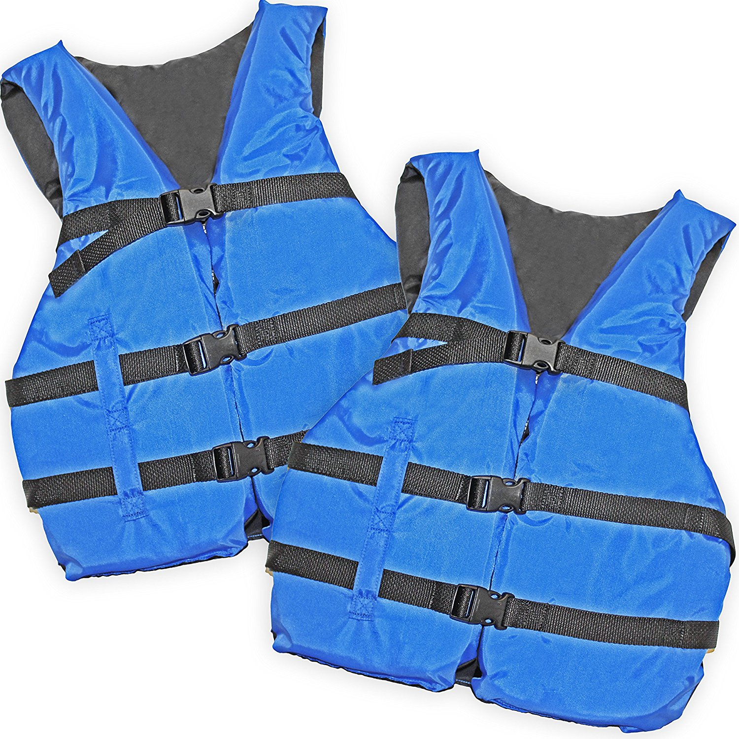 2 Pack Basic Coast Guard Approved Life Jacket (Blue), Designed to fit any person over 90lbs. By Hardcore Water Sports by