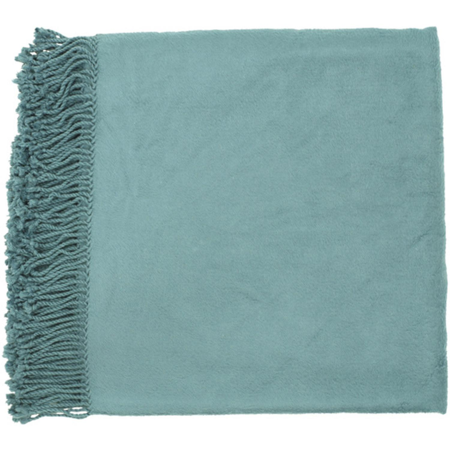 """50"""" x 67"""" Right At Home Cozy Blue-Green Teal Throw Blanket"""