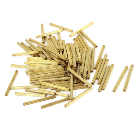 Unique Bargains M2x35mm Cylinder Female Threaded Brass Standoff Spacer Pillars 100 Pcs - image 1 of 1