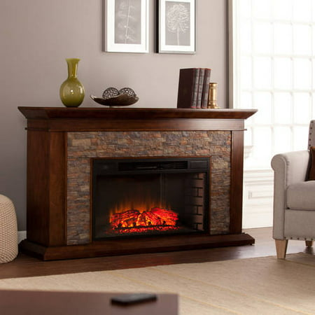 Bentley Electric Fireplace with Faux Stone Whiskey Maple