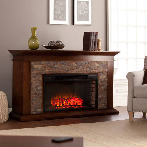 Bentley Electric Fireplace with Faux Stone, Whiskey Maple