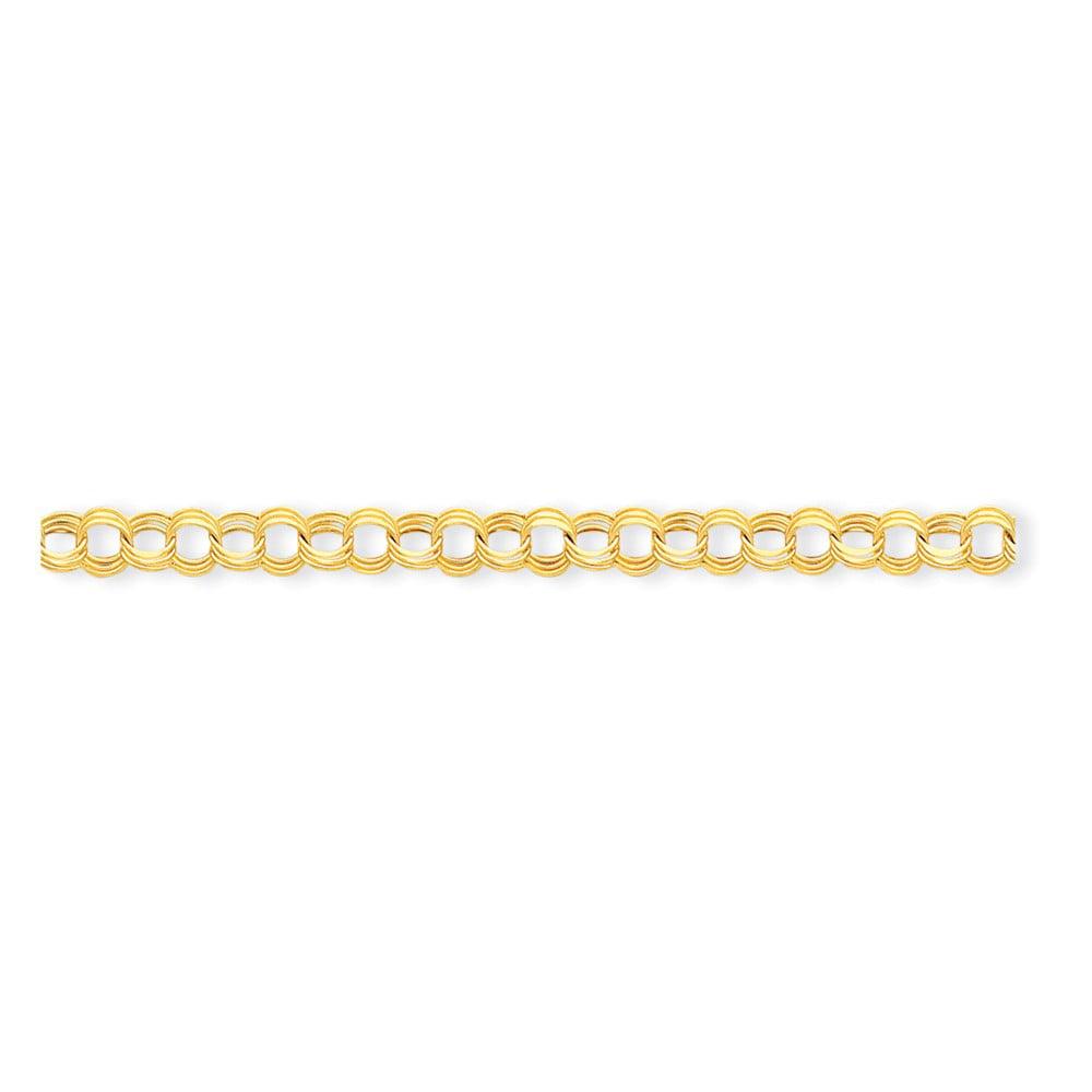 14k Yellow Gold 7in Light 7mm Triple Link Charm Bracelet