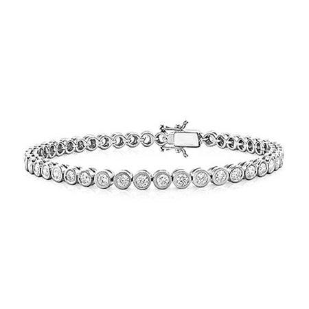 Bridal Clasp Bracelet - 4.2 CTW Bridal Tennis Bracelet Bezel Set Round CZ Sterling Silver 7 Inch Safety Clasp