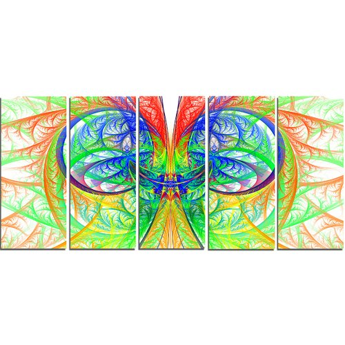 Design Art Extraordinary Fractal Green Design' Graphic Art Print Multi-Piece Image on Canvas