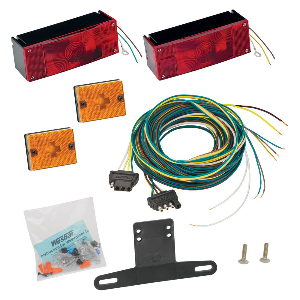 Waterproof Trailer Light Kit(Incl Tail and Side Lamps/Lic Bracket/Wiring) Replacement Auto Part, Easy to Install
