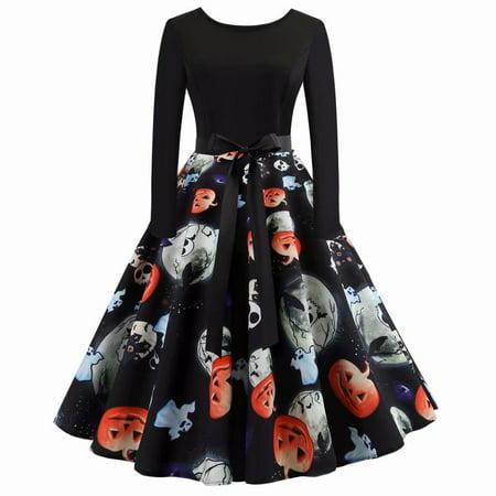 Akoyovwerve Women Halloween Party Pumpkin Ghost Printed Retro Swing Dress O-neck Long Sleeve Vintage Gown Dress](Halloween Fancy Dress Ideas Ladies)