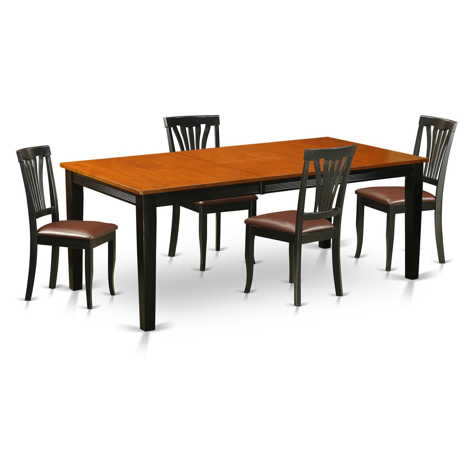 East West Furniture Quincy 5-Piece Lath Back Dining Table Set