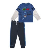 PJ Mask Long Sleeve Graphic Layered T-shirt & Taped French Terry Jogger Pant, 2pc Outfit Set (Toddler Boys)