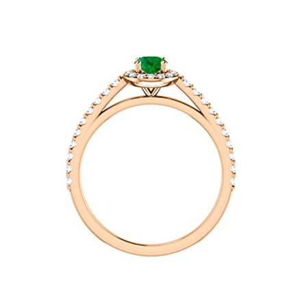 Brilliant Cut Emerald Cubic Zirconia in 14K Rose Gold - image 3 of 8