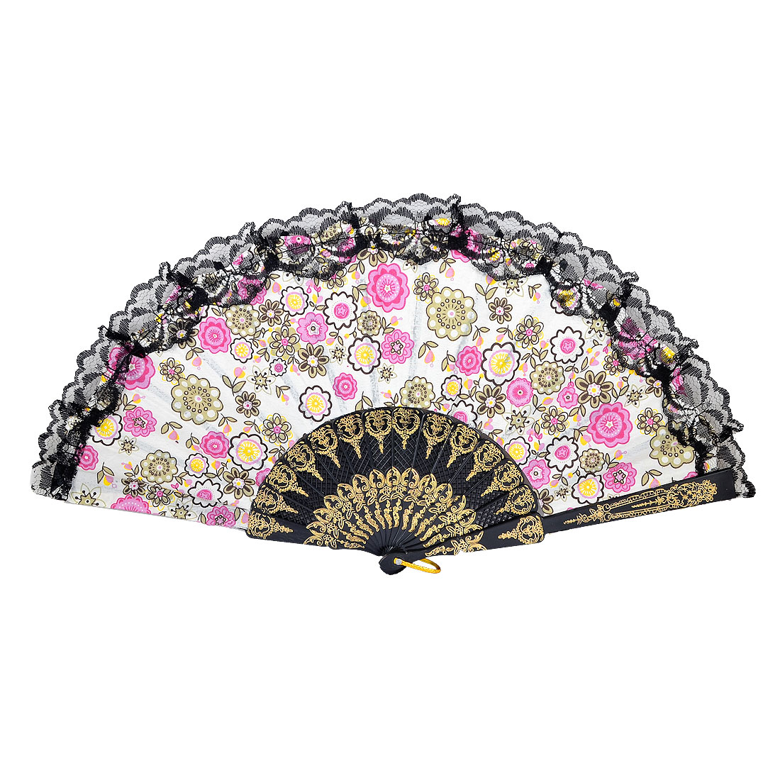 Multicolored Fabric Pink Floral Print Lace Rim Foldable Dancing Hand Fan