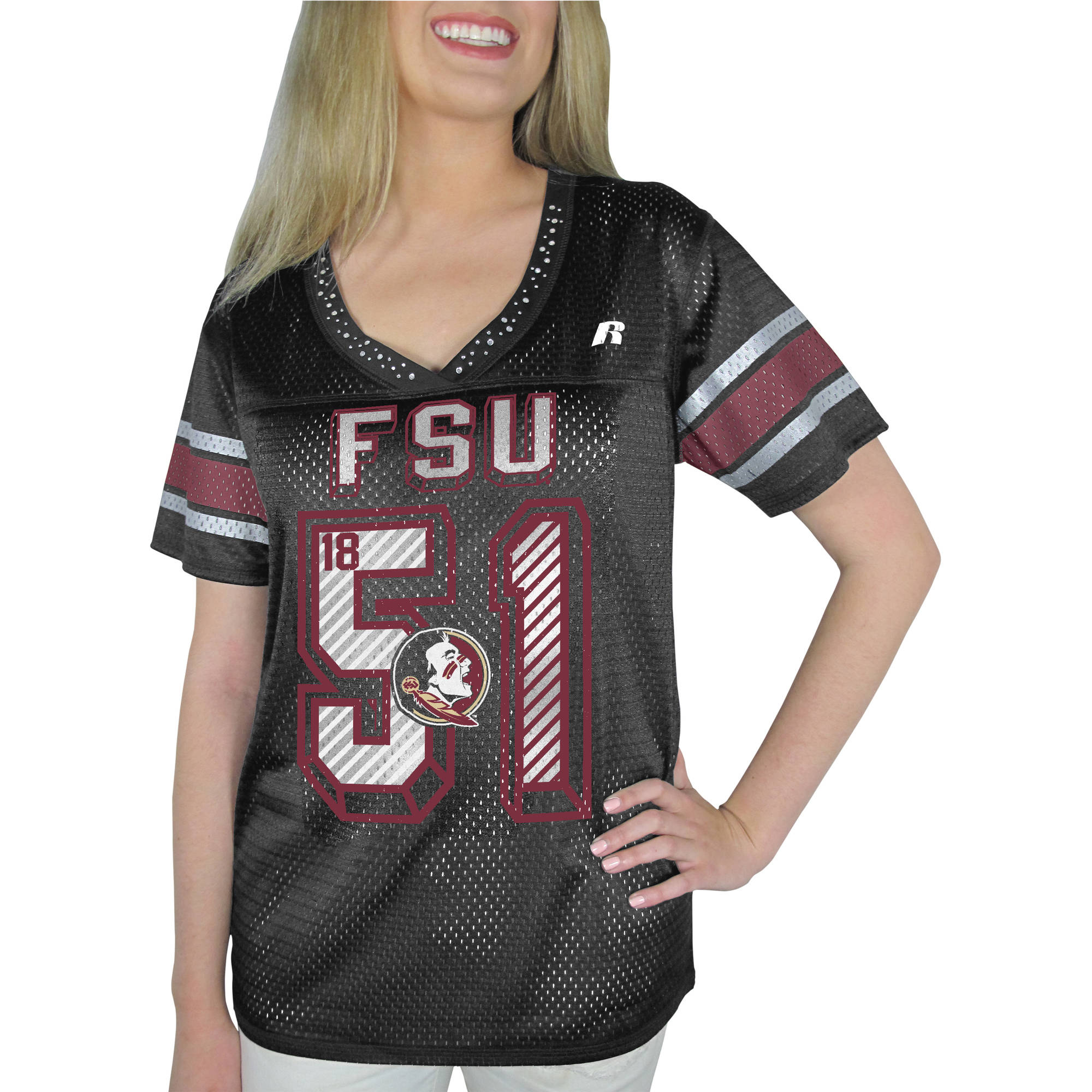 Russell NCAA Florida State Seminoles, Women's Heather V-neck Game Jersey