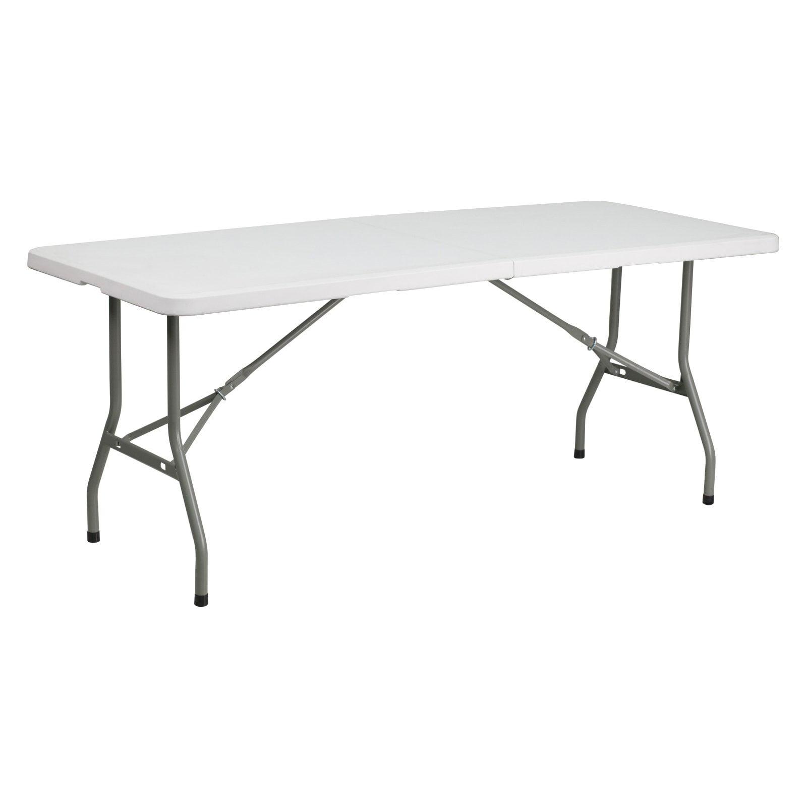 Flash Furniture 30''W x 72''L Bi-Fold Granite White Plastic Folding Table