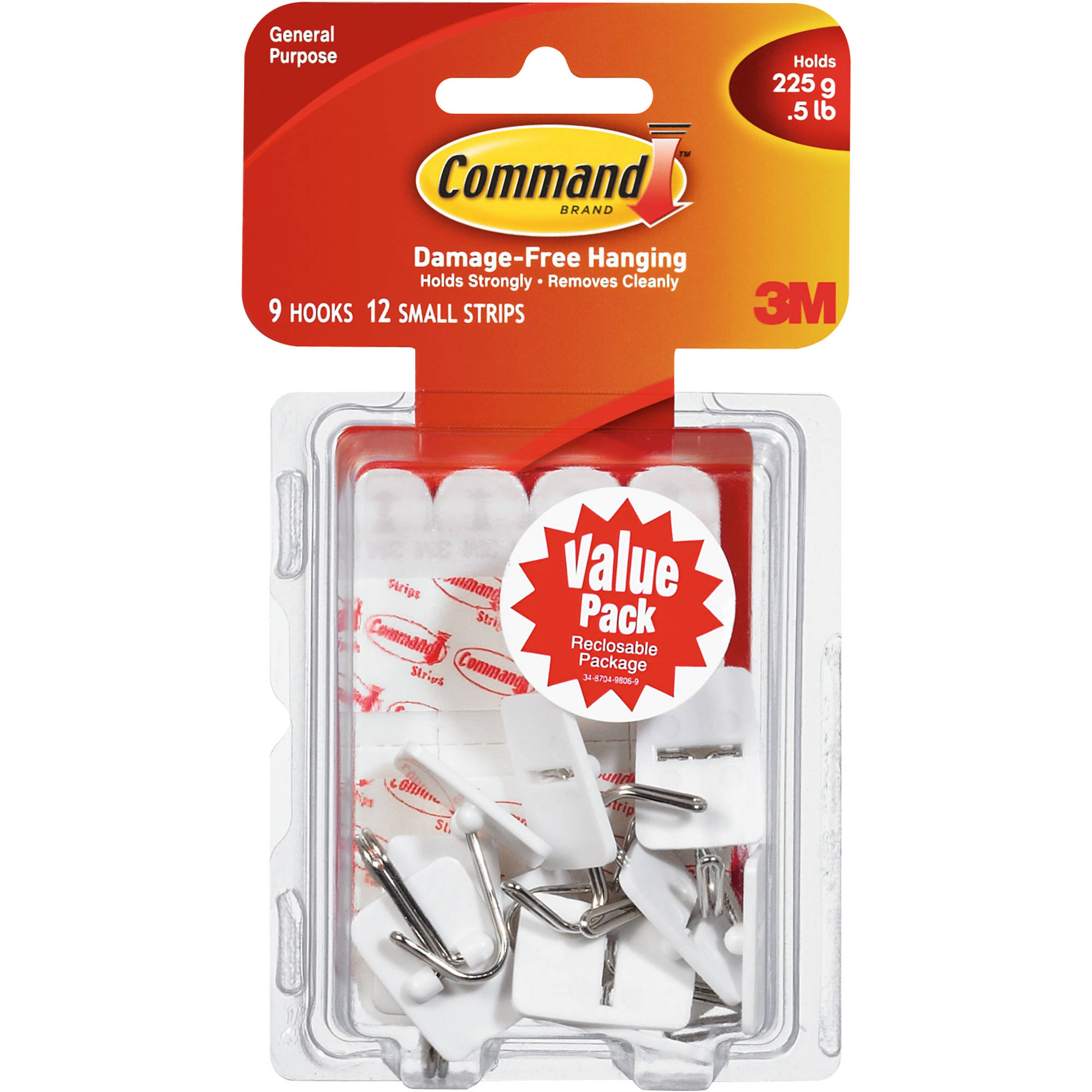 Command Small Wire Hooks Value Pack, White, 9 Hooks, 12 Strips, 17067-VP
