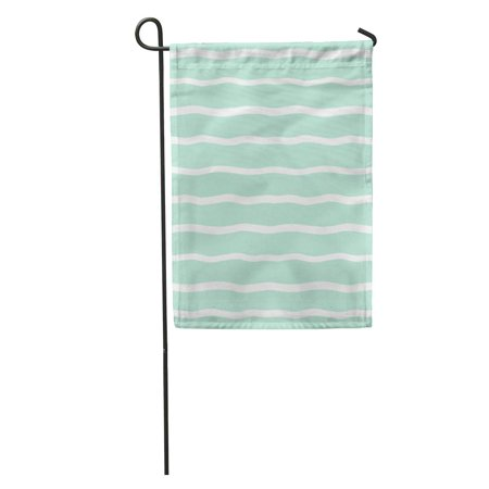 POGLIP Wide Wavy Stripes Uneven Waves Pattern Striped Abstract Cute Streaks White Bars on Mint Green Garden Flag Decorative Flag House Banner 12x18 inch - image 1 de 2