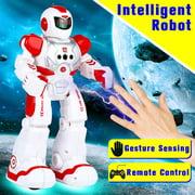 Remote Control Walking Talking Toy Robot, Gesture Sensing Dances, Sings, Reads Stories, Math Quiz, Shooting Discs, and Voice Mimicking.