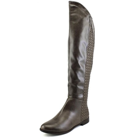 Knex Racers (chinese laundry racer women  round toe synthetic brown knee high boot )