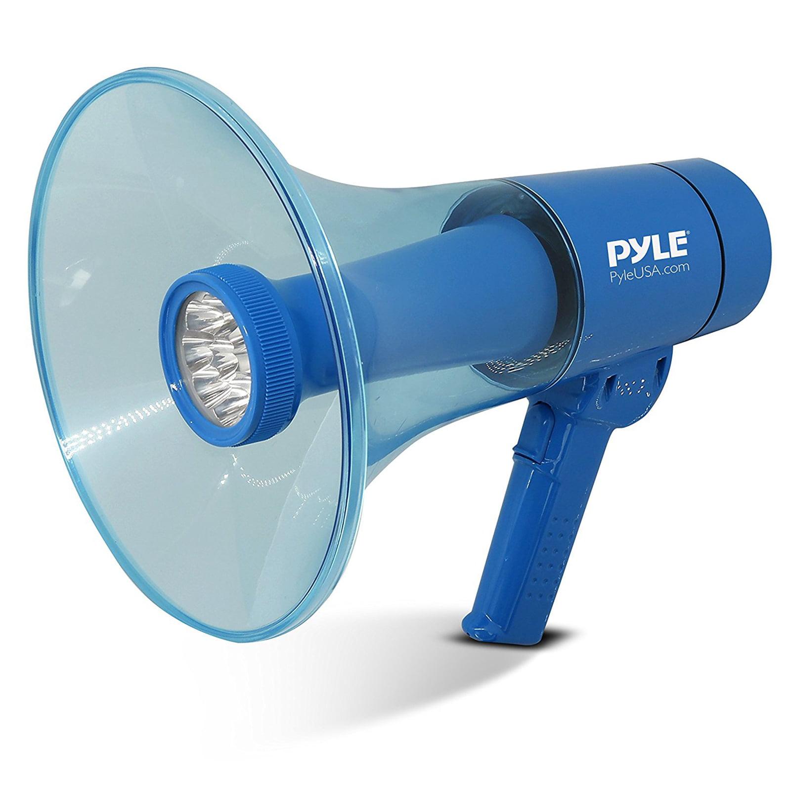 Pyle Portable Compact PA Megaphone Speaker w/ Alarm Siren, Adjustable Volume, 40 W Handheld Lightweight Marine Grade Waterproof Bullhorn, LED Flashlight, AA Battery Powered, Indoor Outdoor
