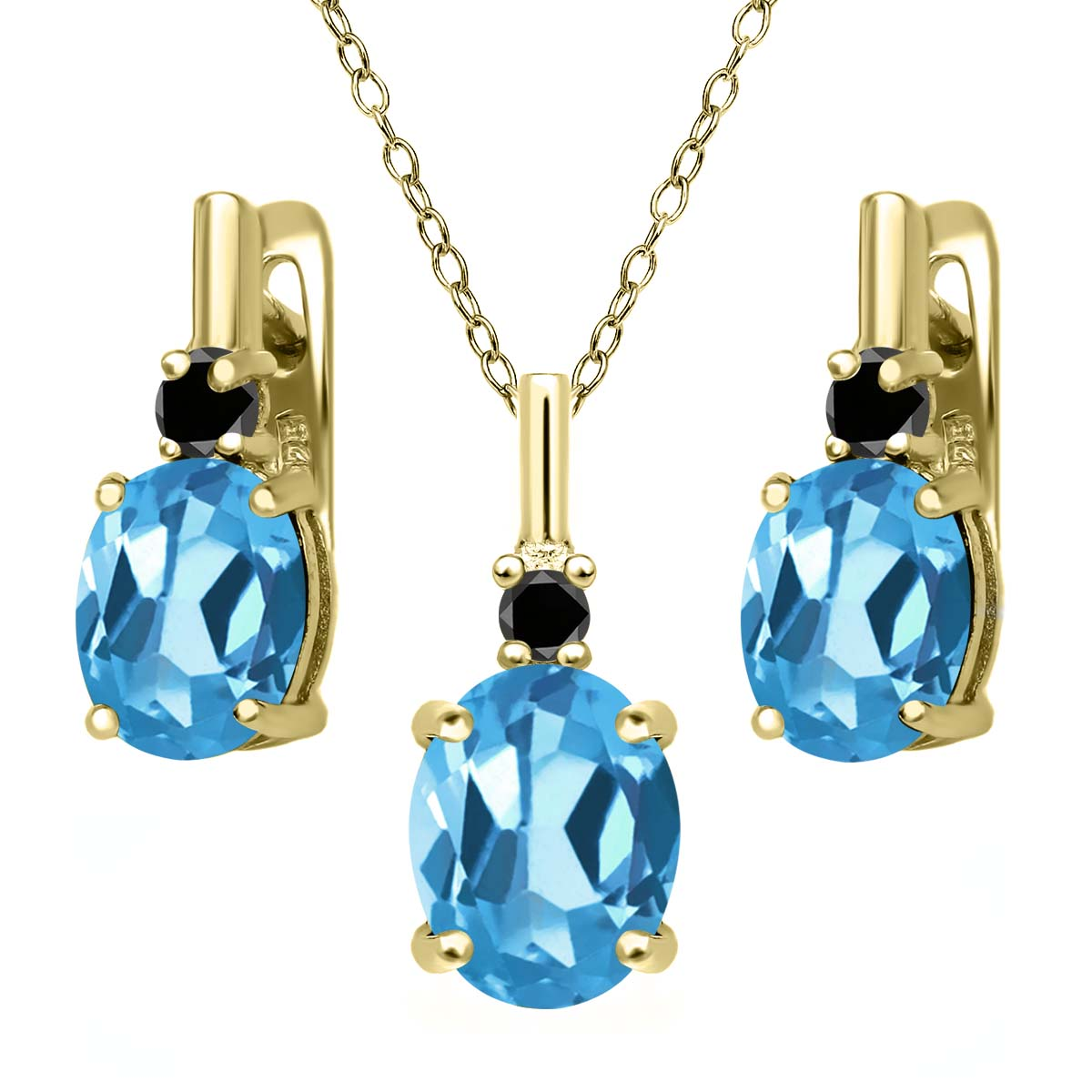 6.67 Ct Swiss Blue Topaz Black Diamond 18K Yellow Gold Plated Silver Pendant Earrings Set by
