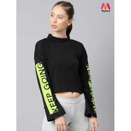 HRX by Hrithik Roshan Women Black Solid Crop Sweatshirt - image 1 de 1