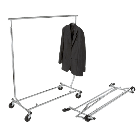 Econoco Collapsable Rolling Clothes Rack- Heavy Duty Collapsible Clothing Rack, Commercial Grade Clothing Display, Round Tubing Rolling Rack, Chrome Econocos rolling collapsable clothing rack is the perfect addition for your clothing store display! This collapsable rolling rack has a chrome finish making it stylish while remaining incredibly durable. Made of steel, the collapsable rolling rack is adjustable in height from 54  to 65 . The clothing rack commercial grade is designed for easy mobility, even when it is filled to capacity. Also, it is easy to store while not in use. The rolling rack commercial grade requires no assembly which allows you to use it immediately. The collapsable clothes rack comes with wheels making it easy to move around. Along with its easy assembly, the rolling rack has 4 industrial casters. The rolling rack is incredibly sturdy and will hold a large load making it perfect for display or for storage purposes. This rolling collapsable rack is ideal for all of your storage needs.