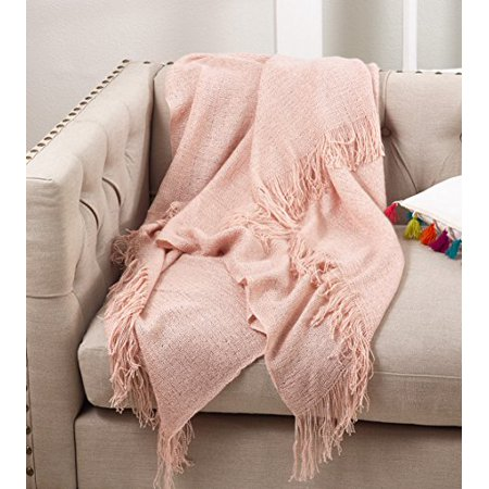 Fennco Styles Classic Solid Throw Blanket With Tassels - 50