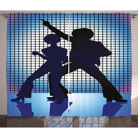 70s Party Curtains 2 Panels Set, Couple Silhouettes on the Dance Floor in Night Life Oldies Seventies Fun, Window Drapes for Living Room Bedroom, 108W X 63L Inches, Blue Purple Black, by Ambesonne (Bedroom Fun Ideas Couples)