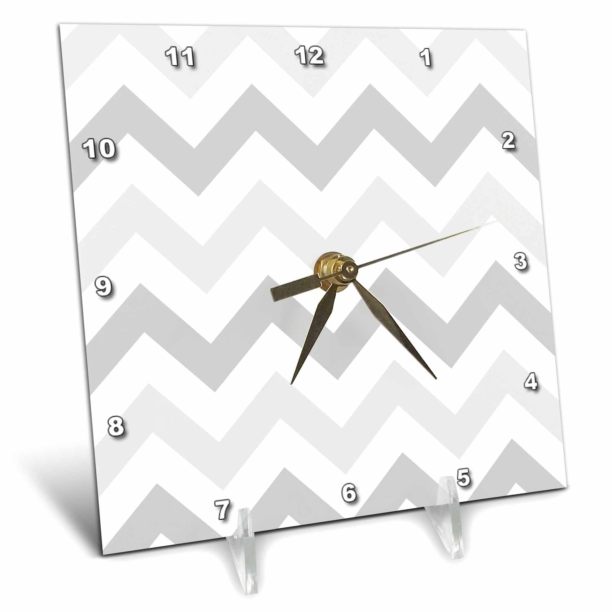 3dRose Light shades of Grey Chevron zig zag pattern pastel gray zigzags, Desk Clock, 6 by 6-inch by 3dRose