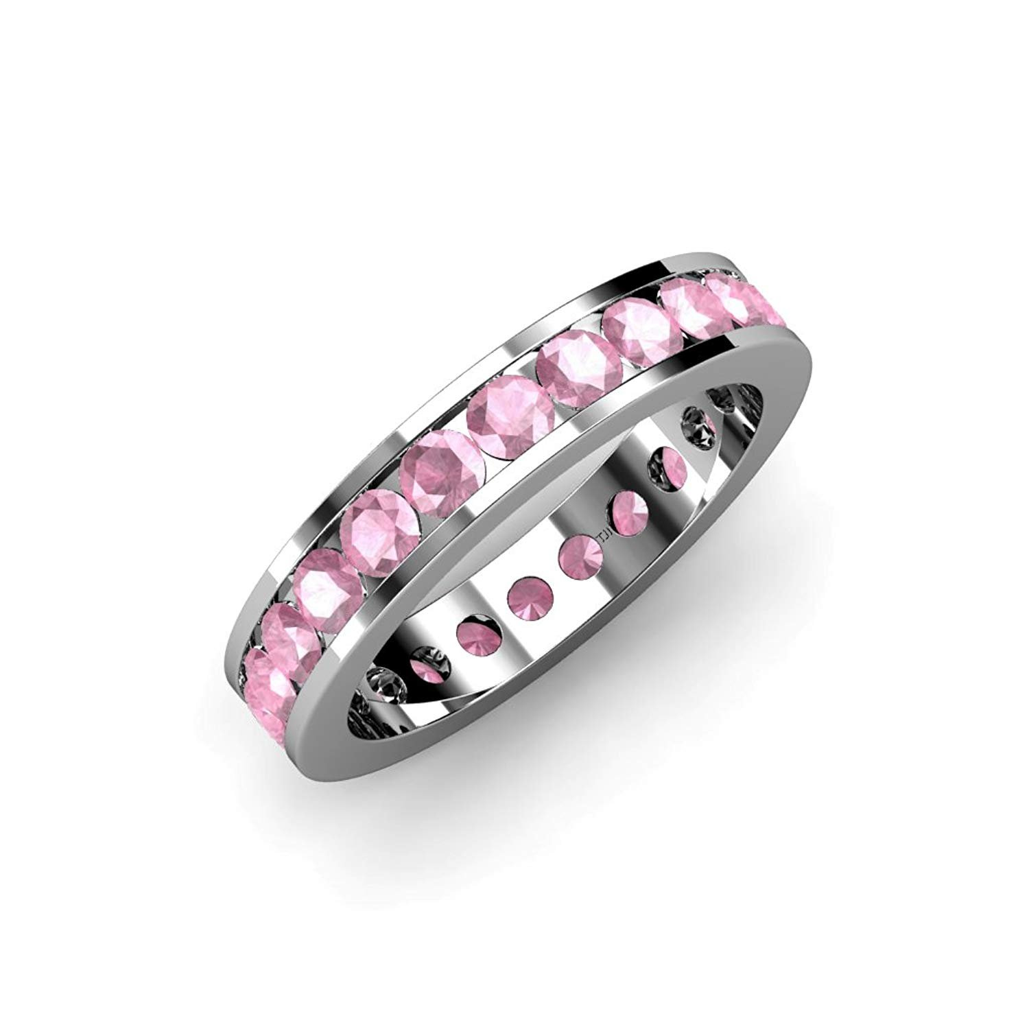 Pink Tourmaline Channel Set Eternity Band 1.99 ct tw to 2.40 ct tw in 14K White Gold.size 5.5 by TriJewels