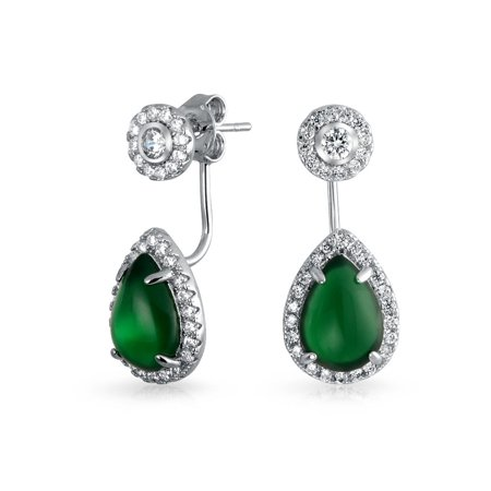 Green 2 in 1 CZ Modern Ear Jackets Back Front Teardrop Pear Shaped Halo Stud Earrings Simulated Emerald Sterling Silver